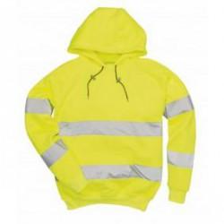 B304 - Jól láthatósági, kapucnis pulóver - sárga